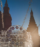 Sculpture in the form of clock on Manezh Square in Moscow Stock Image