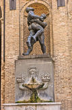 Sculpture and fountain on city hall building at downtown of Parma, Emilia-Romagna Royalty Free Stock Photo
