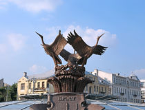 Sculpture fountain Cranes in Minsk Stock Photos