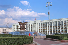 Sculpture fountain Cranes in Minsk Stock Images
