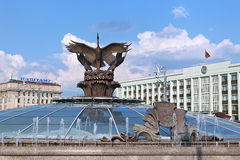 Sculpture fountain Cranes in Minsk Stock Image