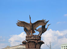 Sculpture fountain Cranes in Minsk Stock Photography