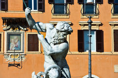 Sculpture of the Fountain of Neptune Fontana del Nettuno Stock Photography