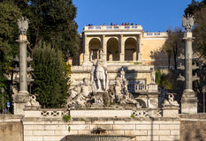 Sculpture and fountain of Piazza del Popolo in Rome Stock Photography