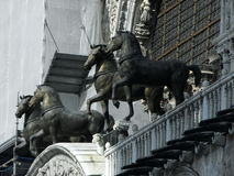 Sculpture of four horses on the cathedral in San Marco Stock Photos