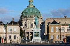 Sculpture of Frederik V on Horseback in Amalienborg Square in Co. Penhagen, Denmark Stock Photos