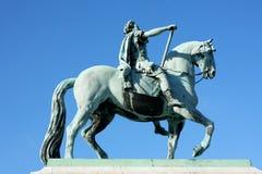 Sculpture of Frederik V on Horseback in Amalienborg Square in Co. Penhagen, Denmark Royalty Free Stock Photo