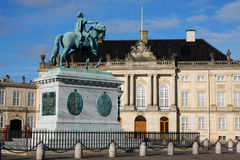 Sculpture of Frederik V on Horseback in Amalienborg Square in Co. Penhagen, Denmark Stock Images
