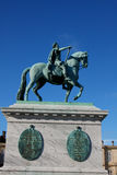 Sculpture of Frederik V on Horseback in Amalienborg Square in Co. Penhagen, Denmark Royalty Free Stock Images