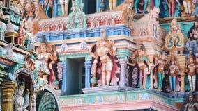 Sculpture on front Hindu Temple in Kerala stock video