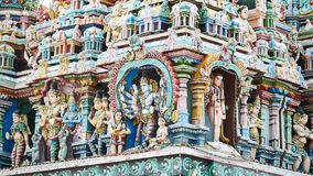 Sculpture on front Hindu Temple in Kerala stock video footage