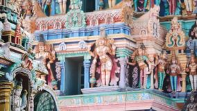 Sculpture on front Hindu Temple in Kerala stock footage