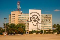 Sculpture géante de Fidel Castro sur la façade du Ministère de l'Intérieur chez Plaza de la Revolucion Place de révolution dans l Image stock
