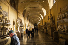 The sculpture Gallery of the Vatican Museums in Rome Italy. Rome Italy, the Eternal city, which has been a destination for tourists since the times of the Roman Royalty Free Stock Photography