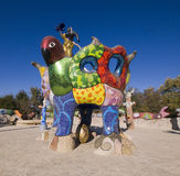 Sculpture Garden, Escondido California. Queen Califia and Eagle Throne, the centerpiece in the mosaic sculpture garden entitled Queen Califia's Magical Circle stock image