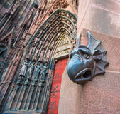 Sculpture of gargoyle, Cathedral of Our Lady of Strasbourg. Alsace, France Stock Image