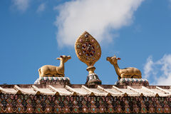 Sculpture on the gate of Tengboche monastery Royalty Free Stock Images