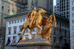 The sculpture of General William Tecumseh Sherman sits at the main entrance of Central Park,NYC,2015 Royalty Free Stock Photo