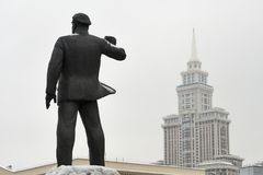 Statue of a german communist Ernst Thalmann in Moscow. Sculpture of a german communist Ernst Thalmann in Moscow near a metro staition Airport Royalty Free Stock Images