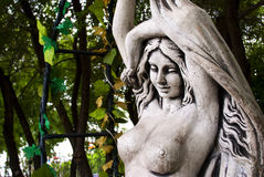 Sculpture girl of stone. Royalty Free Stock Photos
