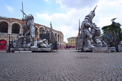 Sculpture of Gladiator infront of Arena of Verona Stock Photos