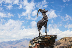 Sculpture of goat on Kamchik (Qamchiq) mountain pass Stock Image