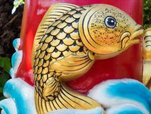 Sculpture gold fish. Stock Photos