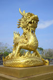 The sculpture of the Golden dragon in the Imperial Purple city. Hue, Vietnam Stock Photography