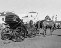Sculpture. `Governor`s carriage ` near the Town Hall of Minsk, Belarus. Monochrome style royalty free stock photography