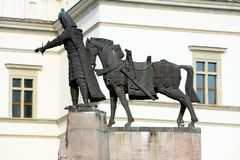Sculpture of Grand Duke Gediminas with Horse in Vilnius city Stock Image