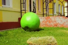 Sculpture of a green Apple royalty free stock image