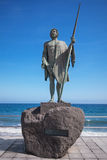 Sculpture of the guanche mencey Adjona on January 30, 2016 in the waterfront of Candelaria, Tenerife. stock photography