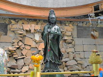 Sculpture of Guanyin Jade in Watthammongkon of Thailand. Beautiful Guanyin Jade royalty free stock photo