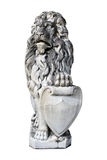 Sculpture of a guardian lion isolated on white Stock Photo