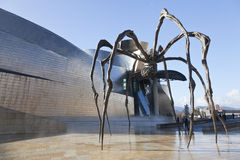 Sculpture at the Guggenheim Museum Bilbao. Bilbao, Spain, December 24. Bronze sculpture, steel and marble shaped spider by Louise Bourgeois, called mama and is Stock Photos