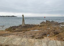 Sculpture at the Gulf of Morbihan. Near Pointe de Kerpenhir, a natural harbour on the coast of the Departement of Morbihan in the south of Brittany, France Royalty Free Stock Photo