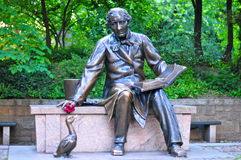 Sculpture of Hans Christian Andersen in the Central Park Stock Image