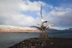 Sculpture at the harbour of Akureyri, Iceland Royalty Free Stock Photography
