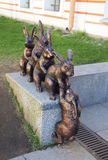Sculpture of hares helping their friend at the territory of Peter and Paul fortress Royalty Free Stock Image
