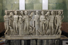 Sculpture about Hippolytus myth. On the side of sarcophagus stock image