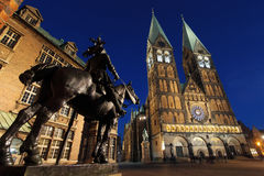 Sculpture at historic townhall and cathedral in Bremen, Germany, at dusk Stock Photography