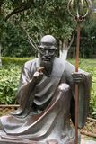 Sculpture of historical figures-A corner of the park. Shengjin tower brick Pavilion style tower Jiangnan typical, 50.86 meters high tower, the tower for the Royalty Free Stock Photography