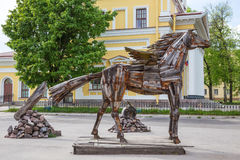 Sculpture of a horse  created from household and industrial wastes, Kronstadt, Russia Royalty Free Stock Photography