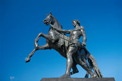 Sculpture of Horse Tamer, Anichkov bridge, Saint Petersburg, Rus Stock Photo