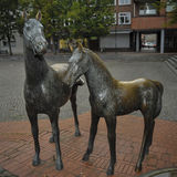 Sculpture of horses.Am Pferdemarkt. Rotenburg  Wuemme Stock Photos