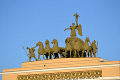 The sculpture of horses on the triumphal arch. Stock Image