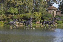 Sculpture houses in the pool. Royalty Free Stock Photography