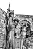 Sculpture of Illyria BW. Artistic sculpture of Illyria in front of stone wall BW Stock Images