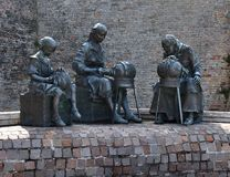 Sculpture In Offida, Three Women Making Traditional  Bobbin Lace Royalty Free Stock Photography