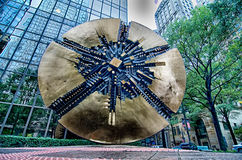 Sculpture In Uptown Charlotte Grande Disk Royalty Free Stock Photography